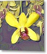 Digitised Orchids Metal Print