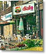 Dilallo Burger Diner Paintings Originalclassic Vintage Burger Joint St Henri St Catherine Cityscene  Metal Print