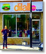 Dilallo Burger Notre Dame Ouest And Charlevoix  Montreal Art Urban Street Scenes Carole Spandau Metal Print