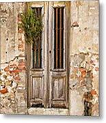 Dilapidated Brown Wood Door Of Portugal Metal Print