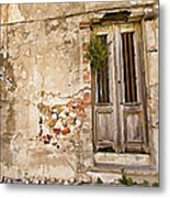 Dilapidated Brown Wood Door Of Portugal II Metal Print by David Letts