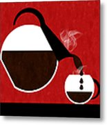 Diner Coffee Pot And Cup Red Pouring Metal Print