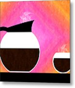 Diner Coffee Pot And Cup Sorbet Metal Print