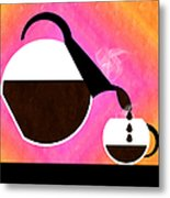 Diner Coffee Pot And Cup Sorbet Pouring Metal Print