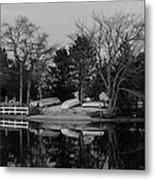 Dinghies Resting Tide Creek Black And White Metal Print