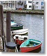 Dinghies Wait At The Pier Metal Print