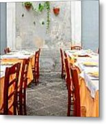Dining Alfresco In Italy Metal Print by Annie  DeMilo