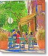 Dinner On The Terrace Le Murphy Boire Et Manger French Bistro Montreal Cafe Street Scene Metal Print