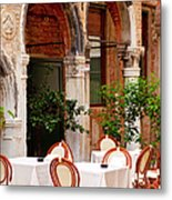 Dinner Tables In Venice Metal Print