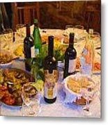 Dinner With Wine Metal Print