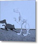 Dino Cyan Metal Print