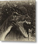 Dino's At The Zoo Come Here Cameraman In Heirloom Finish Metal Print