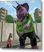 Dinosaur Community Policeman Helping Youngster Metal Print