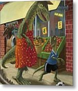 Dinosaur Mum Out Shopping With Son Metal Print