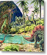 Dinosaur Volcanos Metal Print
