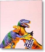 Dinosaurs Hugging Metal Print