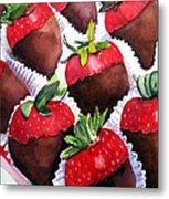 Dipped Strawberries Metal Print