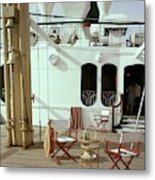 Directors Chairs In Front Of The Ship The Queen Metal Print