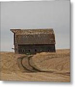 Dirt Road To An Old Leaning Barn Metal Print