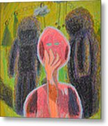 Disappearance Of The Woman And Her Own Two Stone Children With Clouds On Wheels Metal Print