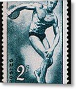 Discus Vintage Postage Stamp Print Metal Print