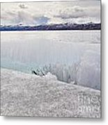 Disintegrating Candelized Melting Ice On Lake Shore Metal Print