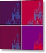 Disney Castle In Purples Metal Print