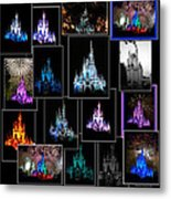 Disney Magic Kingdom Castle Collage Metal Print