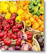 Display Of Fresh Vegetables At The Market Metal Print