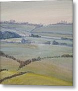 Distant Hills Fields And Hedges Painting Metal Print