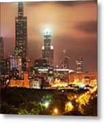 Distant Lights - Chicago Illinois Skyline Metal Print