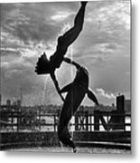 Diver And Dolphin Metal Print