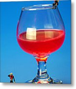 Diving In Red Wine Little People Big Worlds Metal Print