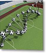 Dna String Of Soccer Player On The Field Of Stadium Metal Print