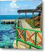 Dock And Tropical Water Metal Print