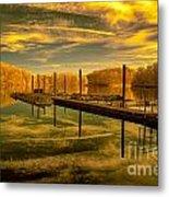 Dock Reflections-golden Metal Print
