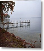 Dock On A Lake In Autumn Metal Print