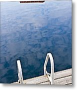 Dock On Calm Lake In Cottage Country Metal Print by Elena Elisseeva
