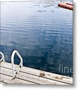 Dock On Calm Summer Lake Metal Print