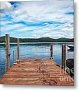 Dock On Summer Lake Metal Print
