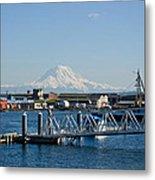 Dock View Of Mt. Rainier Metal Print