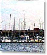 Docked Boats Norfolk Va Metal Print