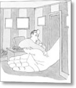 Doctor Sitting At His Desk Checking The Pulse Metal Print