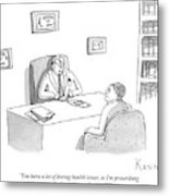 Doctor Speaks To Patient Over Desk Metal Print by Zachary Kanin