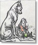 Dog And Child Metal Print by Robert Noir
