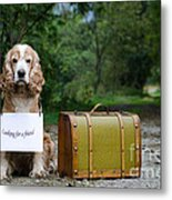 Dog And Suitcase Metal Print