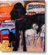 Dog At The Used Car Lot, Rex Gouache On Paper Metal Print