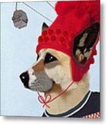 Dog In A Ski Jumper Metal Print