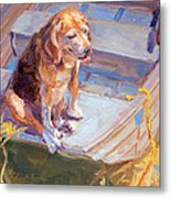 Dog On Boat Metal Print