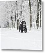 Dog Running In The Snow Metal Print